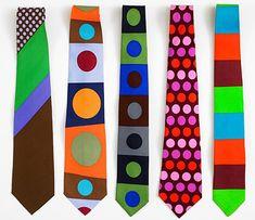 Gene Meyer ties  Printed silk  (Left to right)  1995, 1992, 2011, 1992, 2011