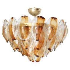 Amber Murano Glass Shells Chandelier by Mazzega