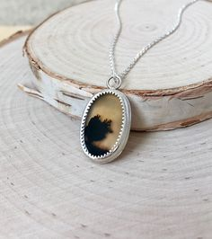 New dendritic agate pendant in 925 sterling by armadillojacks stunning dendritic agate slice in 925 sterling silver with aloadofball Choice Image