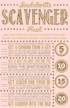 Bachelorette party games are the key to having a great time! We have 20 rocking ideas: bachelorette scavenger hunt, quiz and other hen games! Bachlorette Party, Bachelorette Party Games, Bachelorette Weekend, Bachelorette Party Scavenger Hunt, Bachelorette Checklist, Hen Party Games, Party Favors, Wedding Party List, Wedding Gifts