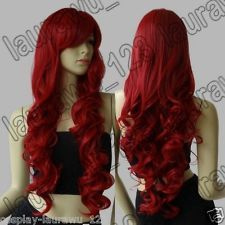 """32"""" Long Heat Resistant Big Spiral Curl Dark Red Cosplay Wig Free Shipping 80cm"""