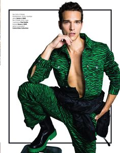 Alexandre Cunha makes an impactful statement as he covers the most recent issue of Harper's Bazaar Man Serbia. The Brazilian model rocks a green tiger print… Model Rock, Brazilian Models, Tiger Print, Bold Prints, Harpers Bazaar, Fashion Stylist, Cover Photos, Editorial Fashion, Supermodels