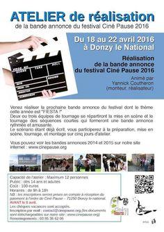 Atelier de réalisation cinéma du 18 au 22 avril 2016 à Donzy-Le-National : http://clun.yt/22L5G09