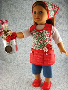 American Girl Gardening Doll Clothes Red Strawberry 4 by LexiBri, $15.50