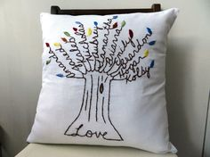 The Love Pillow Cover.  16 inch Pillow Cover.  Unique Birthday Gift.  Hand Embroidered.