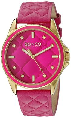 SOCO New York Womens 52012 SoHo Quartz Pink Quilted Leather Strap Watch * Read more  at the image link.Note:It is affiliate link to Amazon.