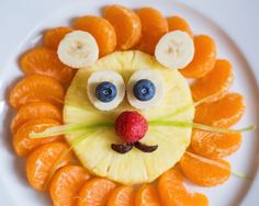 Keep snack time ferociously delicious! Cute Snacks, Cute Food, Yummy Food, Food Art For Kids, Food Carving, Food Garnishes, Food Decoration, Food Crafts, Food Humor