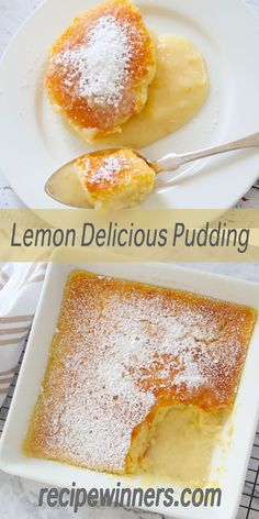 Lemon Delicious Pudding is quick to prepare and tastes fabulous eaten hot, or cold. What we love about this recipe is the sponge layer keeps that freshly baked soft crumb even after refrigeration and the gorgeous lemon curd is a taste explosion. Desserts Rafraîchissants, Lemon Dessert Recipes, Pudding Desserts, Lemon Recipes, Sweet Recipes, Baking Recipes, Delicious Desserts, Cake Recipes, Dessert Healthy