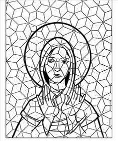 plantilla mosaico para niños - En papel de seda para poder repasar luego el contorno de la virgen con rotulador