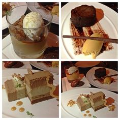 Dessert taste-testing at @ScarpettaBH with @twopeasandpod. Vanilla Caramel Budino, Chocolate Lava Cake with espresso sauce and burnt caramel gelato, and Milk Chocolate Peanut Butter Torte with Banana Mousse (guess who ordered that one) ;)