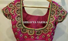 blouse back neck designs Wedding Saree Blouse Designs, Blouse Designs Silk, Designer Blouse Patterns, Aari Work Blouse, Hand Work Blouse Design, Sari Blouse, Maggam Work Designs, Back Neck Designs, Indian Bridal