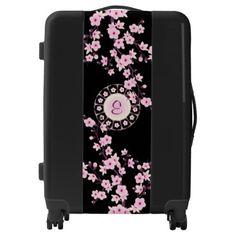 Floral Pink Cherry Blossoms Monogram Luggage - accessories accessory gift idea stylish unique custom