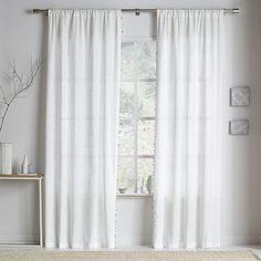 Linen Cotton Wood Bead Trim Curtains (Set of 2) #westelm