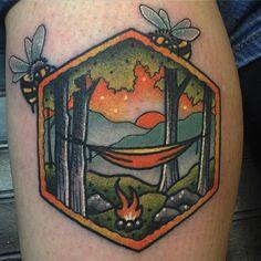 Top 100 Nature Tattoo Ideas Update] - Simple Calf Tattoo Bees Frame Hammock Camping Scene On Gentleman - Foot Tattoos, Cute Tattoos, Beautiful Tattoos, Body Art Tattoos, Tattoos For Guys, Tattoo Drawings, Tatoos, Bee Tattoo, Calf Tattoo
