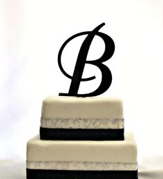 Custom - 6 inch Monogram Acrylic Wedding Cake Topper in Any Letter A B C D E F G H I J K L M N O P Q R S T U V W X Y Z