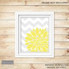 Yellow Flower Burst Wall Art Gray Chevron Bathroom Bedroom Livingroom Nursery Decor Printable 8x10 Digital JPG Instant Download (6) on Etsy, $5.00