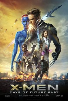 X-Men: Days of Future Past ~ The ultimate X-Men ensemble fights a war for the survival of the species across two time periods. ~ Starring: Hugh Jackman, Jennifer Lawrence, Michael Fassbender, James McAvoy and Ian McKellen Days Of Future Past, Xmen Future Past, Movies 2014, Man Movies, Watch Movies, Popular Movies, Latest Movies, James Mcavoy, Michael Fassbender