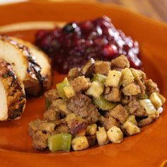 Thanksgiving Stuffing by Antoinette - The Chew - sausage and mushroom stuffing The Chew Recipes, New Recipes, Holiday Recipes, Dinner Recipes, Cooking Recipes, Favorite Recipes, Yummy Recipes, Holiday Foods, Cooking Ideas