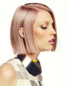 Pink champagne coloured hair + bob