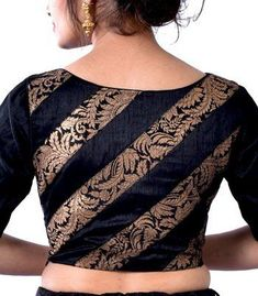 Black Raw Silk with Black Khimkhab Designer Blouse - Image 2 Omg. Thats gold design. But imagine if that was lace.so gorgeous Blouse Back Neck Designs, Fancy Blouse Designs, Kurti Neck Designs, Saree Blouse Neck Designs, Pattern Blouses For Sarees, Designer Saree Blouses, Indian Blouse Designs, Black Saree Blouse, Saree Blouse Patterns