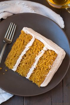 """Pumpkin Cake with Cinnamon Cream Cheese Frosting...Blog says: """"This cake is over the top delicious! It's soft and moist with just the right amount of pumpkin and spice, and the frosting is one of my favorites."""""""