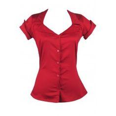 Women's Tailor Button Up Shirt - Red