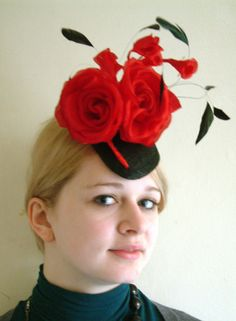 Ruby rose and black teardrop  BY BARBARA M BROWN #millinery #hats #HatAcademy