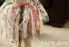 No Sew Fabric scrap tutu - loop around the elastic waist and go!