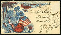 This fancy envelope with a patriotic design was sent to President Lincoln during the Civil War.