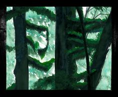 """Visit my ExcitementAdventure shop at etsy dot com for this giclee print of gouache cypress trees at Yakushima! You choose the size! All orders must be under 17"""" inches in height or width. I can customize any size for your frame, so long as it is under 17"""" inches. All work is printed on archival paper with inkjet. (Frame not included.) Thank you so very much for taking an interest in my work. I look forward to bringing you more paintings, drawings, and three-dimensional work in the future!"""