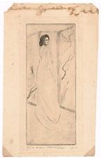 Marco ZIM Erotic Russia Artist 1930 Japanese Screen Signed Etching Woman