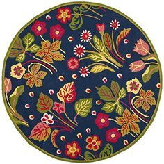 Safavieh Four Seasons Collection FRS465A HandHooked Navy and Green Indoor Outdoor Round Area Rug 6 Diameter * Click for Special Deals #BohemianDecor