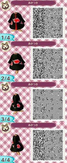 Animal Crossing New Leaf Anime Clothes Qr Codes Qr Code Animal Crossing, Animal Crossing Qr Codes Clothes, Motif Acnl, Ac New Leaf, Motifs Animal, Anime Akatsuki, Anime Animals, Anime Outfits, Cute Baby Animals