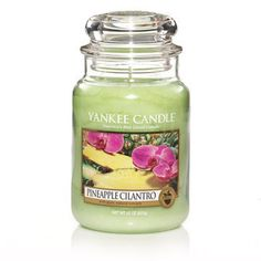 Yankee Candle Pineapple Cilantro : Fresh island pineapple served with a citrus touch of cilantro and sweet coconut is a bit like sipping a tropical drink al fresco.