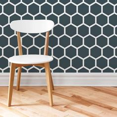 Honeycomb Allover Stencil from Cutting Edge Stencils painted on an accent wall. Inspired by popular Hexagon wallpaper patterns. http://www.cuttingedgestencils.com/honeycomb-wall-stencil-hexagon-wallpaper-stencils.html