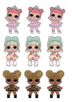 Dani Ferrari: Arquivo tiaras L.L para imprimir - 6th Birthday Parties, Baby Birthday, Fabric Dolls, Paper Dolls, Lol Doll Cake, Party Cartoon, School Labels, Doll Party, Bottle Cap Images