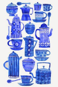 Tracey English will be at Surtex on Sunday with her new agents, Creatif in Booth 207 with new work and a brand new style. Kitchen Prints, Kitchen Art, Tea Illustration, Coffee Poster, Tea Art, Surface Pattern Design, Illustrations Posters, Decoupage, Art For Kids
