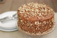 A recipe for a chocolate kahlua cake with salted chocolate hazelnut buttercream for a birthday.