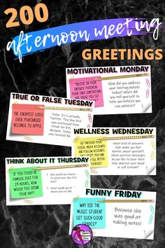 End your school day in a consistently positive and engaging way with these daily themed afternoon meeting whiteboard 5 minute prompts! There are 200 slides, more than enough for one for every day of the school year! Character Education, Character Development, School Resources, Teacher Resources, Philosophical Thoughts, Responsive Classroom, Mental Health And Wellbeing, Secondary Teacher, Social Emotional Learning