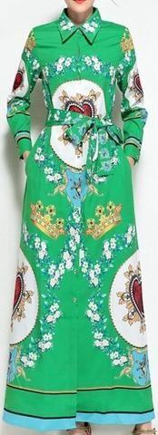 Sacred Heart & Floral Print Maxi Shirt Dress in Green