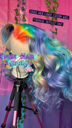 Short Rainbow Hair, Rainbow Braids, Rainbow Wig, Box Braids Hairstyles For Black Women, Cool Braid Hairstyles, Baddie Hairstyles, Beautiful Hairstyles, Hair Color For Black Hair, Dark Hair