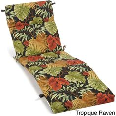 Garden treasures 73 in l x 23 in w floral black patio for 23 w outdoor cushion for chaise