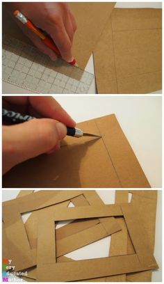 Turn old cereal boxes into colorful photo mats! via Erin - My Very Educated Moth.,Turn old cereal boxes into colorful photo mats! via Erin - My Very Educated Mother Frames are decorative accessories that surround the moments you imm. Diy Photo Frame Cardboard, Cardboard Crafts, Cardboard Boxes, Cadre Photo Diy, Marco Diy, Picture Frame Crafts, Dyi Picture Frames, Photo Frame Ideas, Colorful Picture Frames