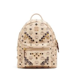 MCM Small Stark M Odeon Studs Backpack In Beige Backpacks For Sale ec9d983976498