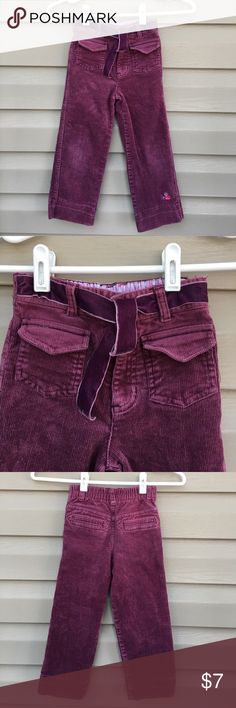 Wonder Kids girls plum corduroy long pants Like new girls corduroy pants with front and back pockets embroidered cuff, velvet tie in front,elastic in back waist. No stains or holes Wonder Kids Bottoms
