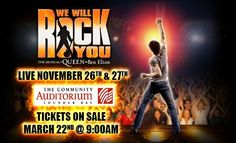 We Will Rock You  #tbay Ben Elton, We Will Rock You, Live Events, Auditorium, Musicals, Community, Movie Posters, Movies, 2016 Movies