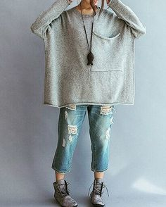 Love an over sized knit with ripped jeans Perfect Casual style for the weekend, #casual #curvystyle #curvyfashion #outfit