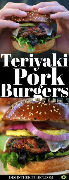 Pork Burgers grilled to juicy perfection, then brushed with a luscious teriyaki sauce are the ideal backyard barbecue treat. Stack them high with lettuce, sweet red onions, Havarti cheese, and ring of grilled pineapple for that perfect island bite. #teriyaki #honeyteriyakisauce #porkburgers #teriyakiporkburgers #grilling Grilling Recipes, Pork Recipes, Cooking Recipes, Pork Meals, Hamburger Recipes, Pork Burgers, Gourmet Burgers, Best Lunch Recipes, Healthy Recipes