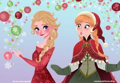 Elsa and Anna dressed up for Christmas.