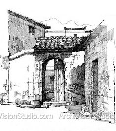 Pin and Ink sketching Landscape Sketch, Landscape Drawings, Architecture Drawings, Building Drawing, Art Sketches, Sketch Ink, Ink Pen Drawings, Urban Sketchers, Art Graphique